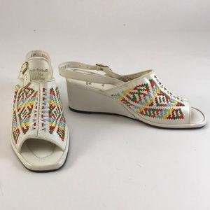 Vintage 70s Open Toe Wedge w/ Southwestern Pattern